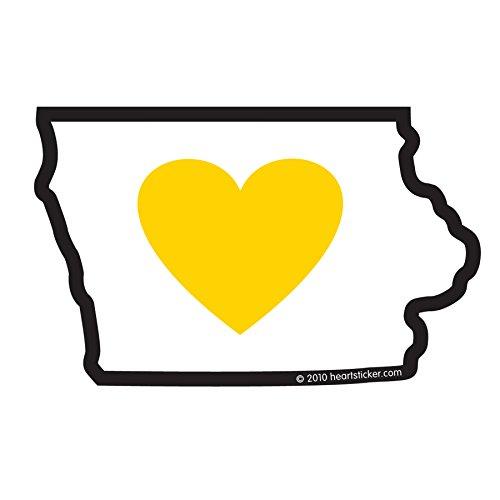 Heart in Iowa Sticker Vinyl Decal Label Stickers, Die-Cut Shape for Water Bottle Laptop Luggage Bike Laptop Car Bumper Helmet Waterproof Show Love Pride Local IA Hawkeye Black & Gold