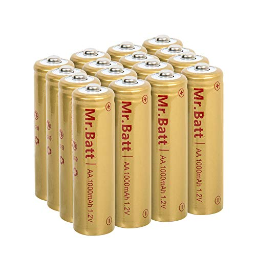 Mr.Batt NiCD AA Rechargeable Batteries for Solar Lights 1.2V 1000mA, 16 Pack ()