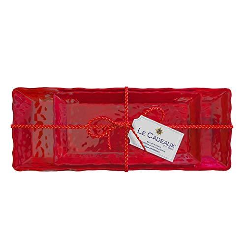 Le Cadeaux Garnet Red Two-Piece Biscuit & Baguette Tray Gift Set ()