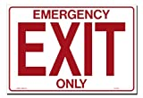 Lynch Signs 14 in. x 10 in. Decal Red on White Sticker Emergency Exit Only