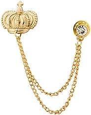 Knighthood Crown and Swarovski Collar Pin Shirt Stud Brooch Golden Lapel Pin Badge Coat Suit Jacket Wedding Gi
