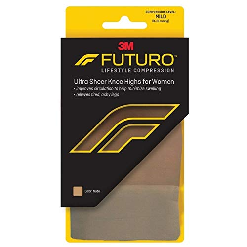 (Futuro Energizing Ultra Sheer, Knee Highs for Women, Mild-Nude, Small )