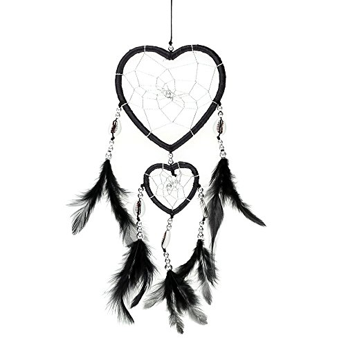 - Heart-shaped Handmade Dream Catcher with Feather Bead Shell Traditional Indian Style Wall Home Decor Ornament Car Pendant