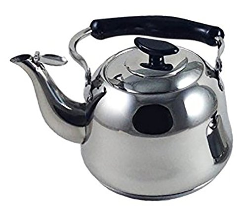 5 Liter Polished Mirror-Finish Stainless Steel Whistling Capsule Base Stovetop Teakettle Tea Kettle Teapot, Gas Electric Induction Compatible