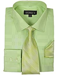 3c161ae19539 Geometric Pattern Fashion Dress Shirt With Woven Tie and Hankie AH623