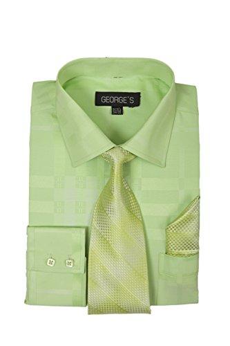 - George's Geometric Pattern Fashion Dress Shirt With Woven Tie Set AH623 Lime-16-16 1/2-36-37