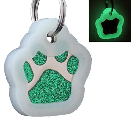 Laser Engraving Glitter Paw Pet ID Tags Custom Personalized for Dog & Cat Paw Print Tag (Green + ()
