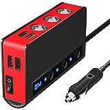 Cigarette Lighter Splitter, SONRU 180W QC 3.0 Car Charger 12V/24V Cigarette Lighter Adapter with 3 sockets Max 6.6A 4-Port Qu