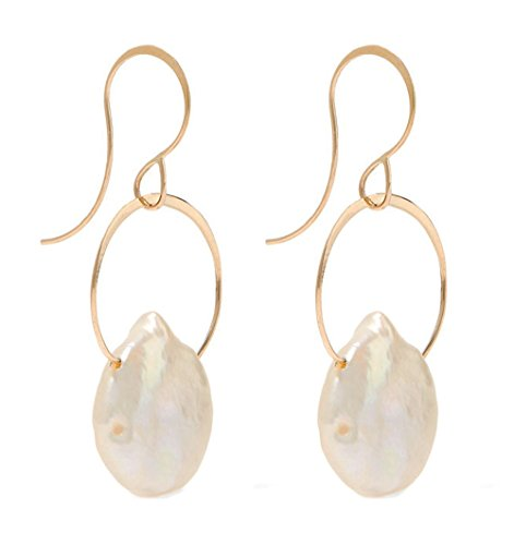 Melissa Joy Manning Gold Single Drop Keshi Pearl - Earrings Melissa Aquamarine Joy Manning