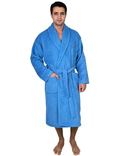 TowelSelections Turkish Cotton Robe Terry Shawl Bathrobe for Men Medium/Large S. Lake Blue (Male Robes)