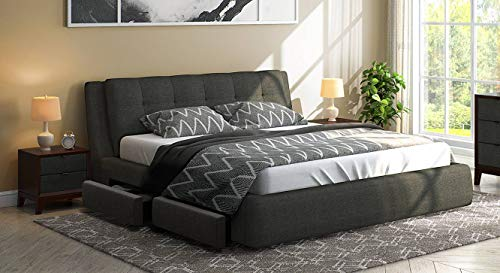 Urban Ladder Stanhope Queen Size Engineered Wood Upholstered Bed with Pull Out Storage  Charcoal Grey
