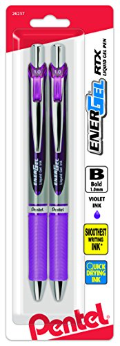 Pentel Energel Rtx Retractable Liquid Gel Pen, Bold Line, Metal Tip, Violet Ink Pack of 2 (BL80BP2V)