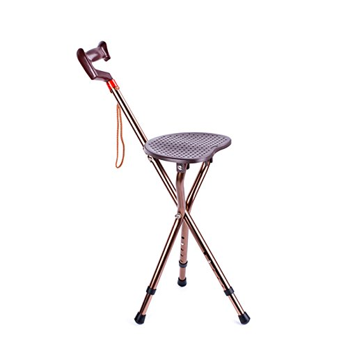 Folding Canes Seat Walking Stick Height Adjustment 300 lbs Capacity Travel Aid for Elder Parents Gift Brown by M-GYG