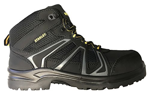 Stanley Pro Lite Hiker Mid Men Size 12 Black Leather/Mesh Steel Toe Work Boot by Stanley