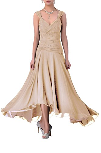 Mother of The Bride Groom Dress Tea Length Formal Chiffon Special Occasion Bridesmaid, Color Champagne,16