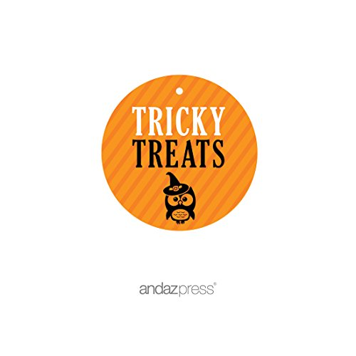 Andaz Press Classic Black and Orange Halloween Party Collection, Tricky Treats Round Circle Gift Tags, 24-Pack -
