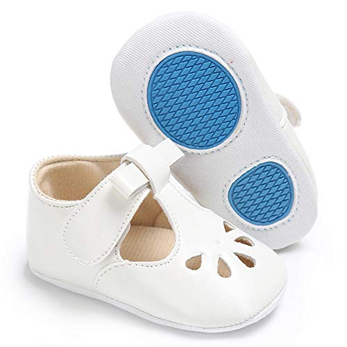 Isbasic Baby Girls Mary Janes Flat Toddler Prewalker Soft Sole Anti-Slip Princess Baptism Crib Shoes (12-18 Months, A-White) ()