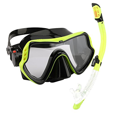 Aoozi Scuba Mask Diving Mask Diving Glasses Mask Snorkel Goggles Tempered Anti-Fog Lens Glasses Silicone Skirt Soft Flexible Silicone Strap Adult Men Women Boys Girls (Yellow)
