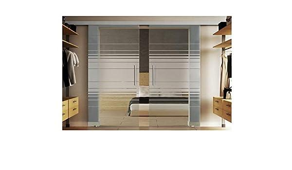 Puerta de cristal al deslizar con 2 discos en cada 102.5 x 205 cm en vidrio templado-vidrio esmerilado con láminas-diseño (L) Levidor EasySlide-sistema neumático. Ejecución del carril y concha de asas, puerta