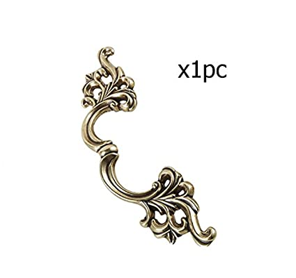 IdealDecor 10pcs European Style Antique Brass Carvings Door Knobs Dresser Drawer Pulls Cabinet Handle Furniture Hardware (Hole Distance 85mm )