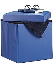 Relaxdays Opvouwbare kruk, zitkubus met opbergruimte deksel, voetensteun, zitkubus van kunstleer 38 x 38 x 38 cm, imitatieleer, blauw