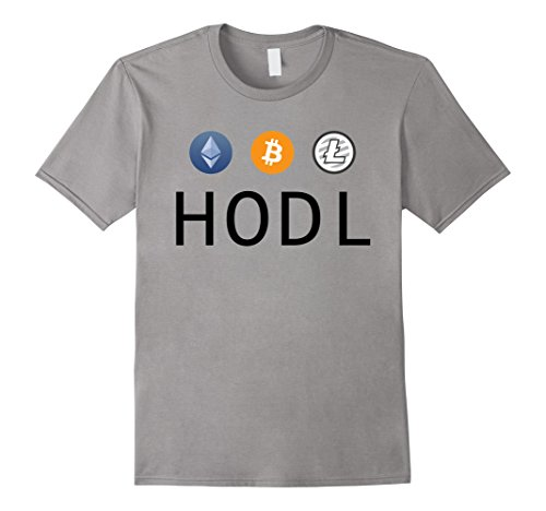 Mens Ethereum Bitcoin Litecoin HODL Crypto T-Shirt Medium Slate