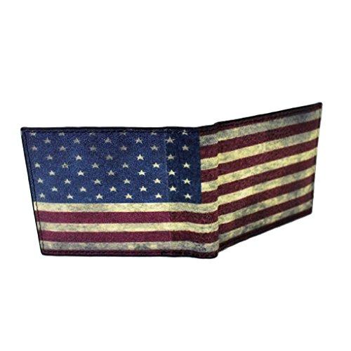 Men's Bi-fold Genuine Black Leather Wallet American Flag
