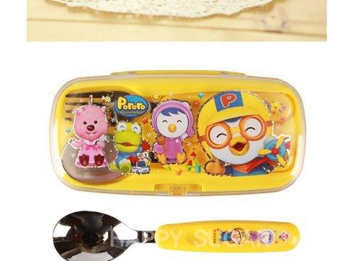 Pororo Cutie Spoon & Fork Set with Hard Case