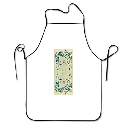 Smbada Dreaming of Tattoo Explosions Mirror Body Morphing Durable Kitchen Apron for Women, Professional Chef Apron for Cooking,Grill and Baking