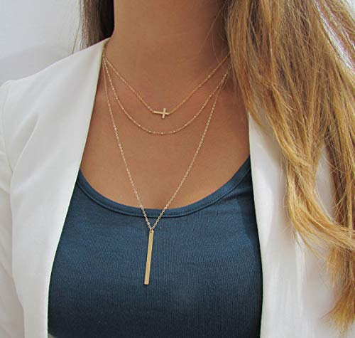 Gold Happy 3 Multi Layers Necklace Cross Beads Chain Charm Bar Pendant Necklace for Women ()
