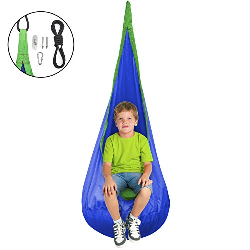 Sorbus Kids Child Pod Swing Chair - Hanging Seat Hammock Nest for Indoor and Outdoor Use - All Accessories Included