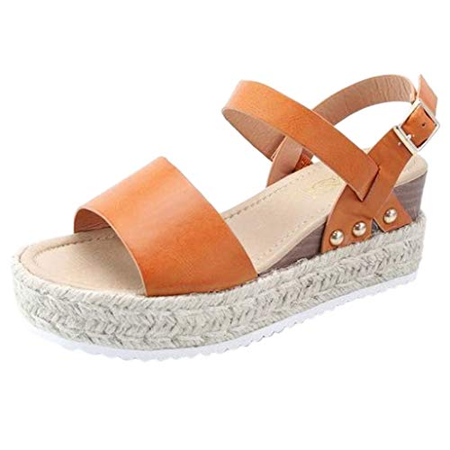 Duseedik Women's Platform Sandals Espadrille Wedge Ankle Strap Studded Open Toe Sandals ()