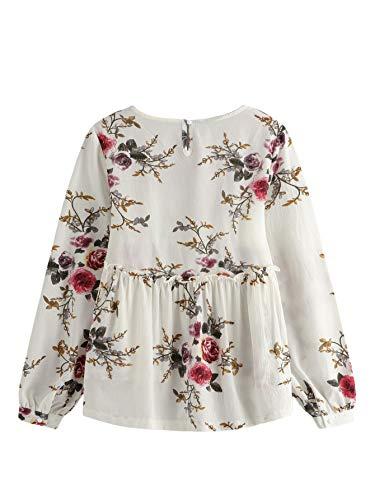 a3e428dbf3 SheIn Women's Loose Long Sleeve Ruffle Hem Peplum Floral Blouse Top ...