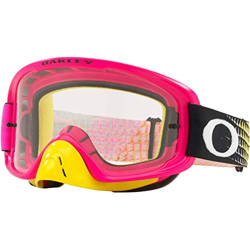 Oakley O Frame 2.0 MX Adult Off-Road Motorcycle Goggles - Dissolve Pink Yellow/Clear & Dark Grey