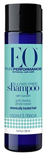 EO Pure Performance Botanical Shampoo, Sulfate Free with Keratin for Chemically Treated Hair, Coconut & Hibiscus, 8.4 Ounce (24 Count)