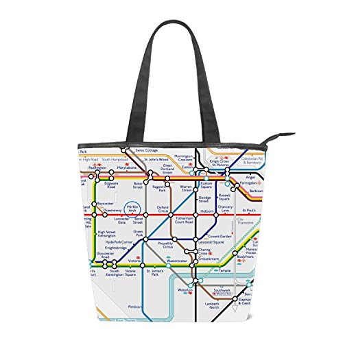 Shopping Bag Simple Map Of London Underground Grocery Canvas Tote Bags