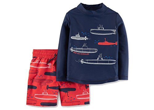 Just One You by Carters Toddler Boys' Submarines Long Sleeve Rash Guard Swim Set Blue Red, 12M (Submarine Bathing Suits)