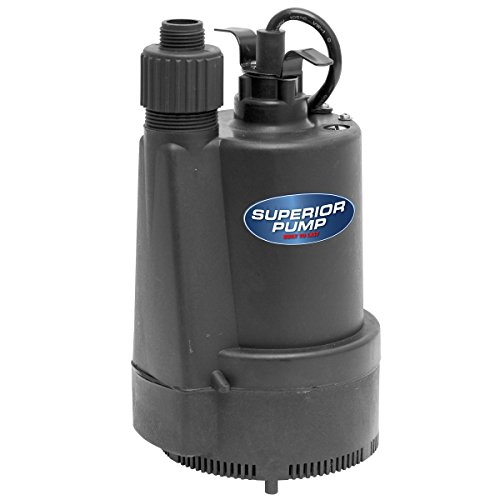 Superior Pump 91330 1/3 HP Thermoplastic Submersible Utility Pump with 10-Foot Cord