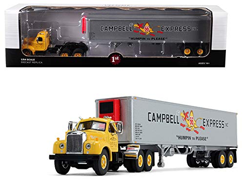 Express Reefer (StarSun Depot New Mack B-61 Day Cab Yellow with 40' Vintage Reefer Trailer Campbell 66 Express Inc. 21th in a Fallen Flag Series 1/64 Diecast Model by First Gear)