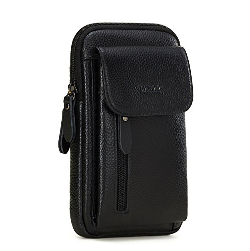 VIIGER Leather Small Crossbody Travel Purse Crossbody Bag Large Vertical Cell Phone Pouch Belt Holster Mini Shoulder Bag Belt Pouches for Men Belt Loop for iPhone X 8 Plus Galaxy S8 S9 Plus