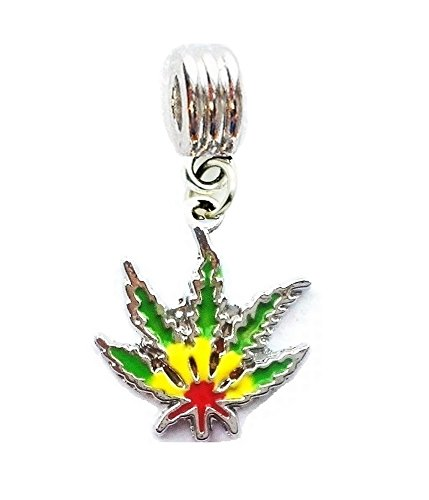 RASTA POT LEAF WEED CANNABIS MARIJUANA CHARM PENDANT FOR NECKLACE EUROPEAN CHARM BRACELET (Fits Most Name Brands) DIY ETC ()