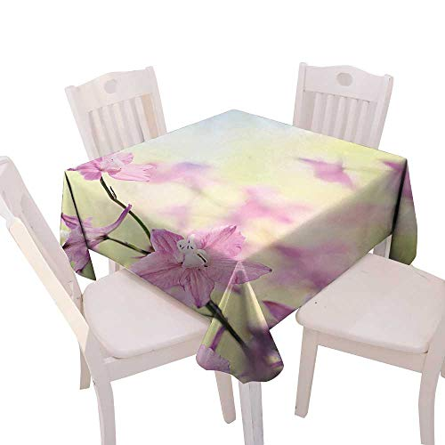 (Cheery-Home Rectangular Polyester Tablecloth Suitable All Occasions,(W50 x L50) Floral Larkspur Petals Bokeh Backdrop Summer Season Botany Bouquet Image Baby Pink Pale)
