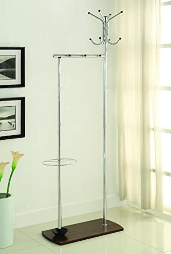 Coaster Home Furnishings Coat Rack with Umbrella Stand Chrome and Walnut