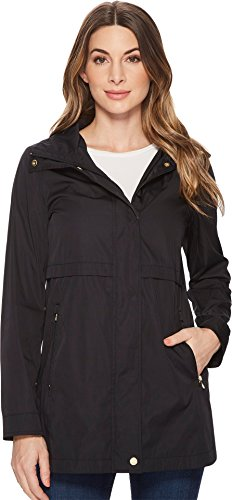 Cole Haan Womens Zip Front Double Face Packable Rain Jacket With Detachable Hood and Curved Hem Detail Black XL (US 16-18) One Size