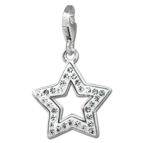 SilberDream Glitter Charm open star with white Czech crystals 925 Sterling Silver Charms Pendant for Charms Bracelet, Necklace or Earring GSC556W