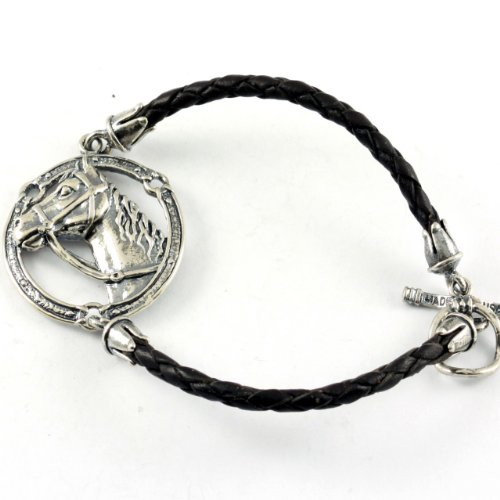 Sterling Silver Horse Head Dark Brown Leather Bracelet (Silver Bracelet Sterling Horse Head)