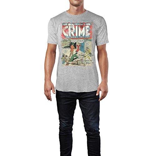 SINUS ART® Crime Herren T-Shirts stilvolles hellgraues Cooles Fun Shirt mit tollen Aufdruck