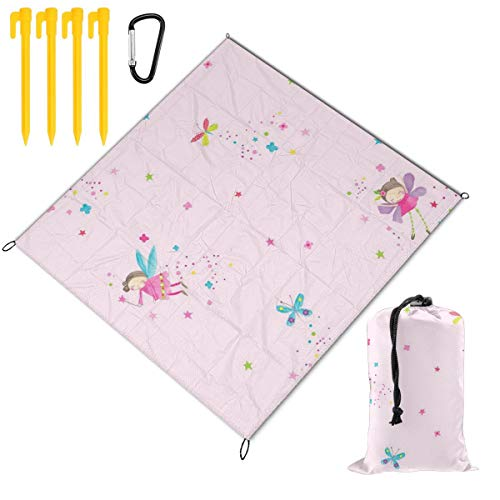 Rachel Dora Outdoor Waterproof Camping Blankets Lightweight Oversized Sandproof Durable Beach Mat for Picnic,Travel,Yoga,Hiking,Fairy Dust Butterfly Printing Blanket with Pockets 67 x 57 inch (Dora Travel Potty Seat)