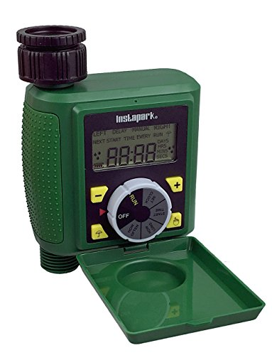 - Instapark PWT-07 Outdoor Waterproof Digital Programmable Single Outlet Automatic On Off Water Faucet Hose Timer with Rain Delay and Manual Control