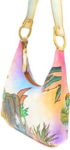 ZIMBELMANN MICHAELA Genuine Nappa Leather Hand-painted Hobo Shoulder Bag Purse by Zimbelmann (Image #1)